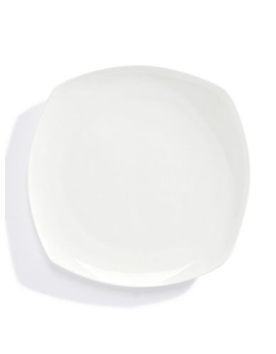 Glucksteinhome Quincy Bone China Square Salad Plate-WHITE-One Size