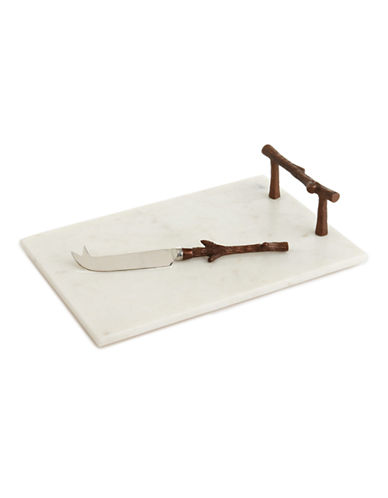 Distinctly Home Marble Cheese Tray With Knife-WHITE-One Size