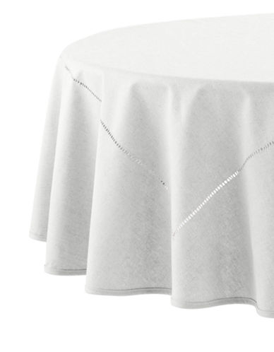 Distinctly Home Round Table Cloth-WHITE-One Size