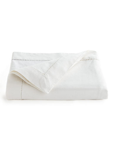 Distinctly Home Hemstitch Tablecloth-WHITE-One Size