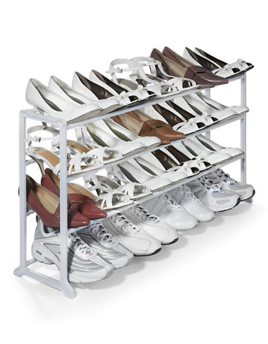 Essential Needs 20-Pair Shoe Rack-WHITE-One Size