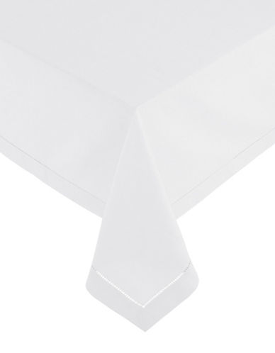 Glucksteinhome Monroe Hemstitched Oblong Tablecloth-WHITE-60x120
