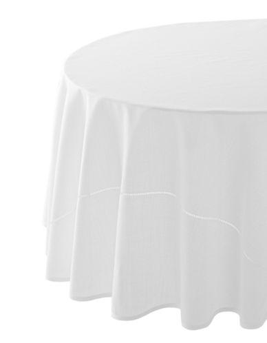 Glucksteinhome Monroe Hemstitched Round Tablecloth-WHITE-70