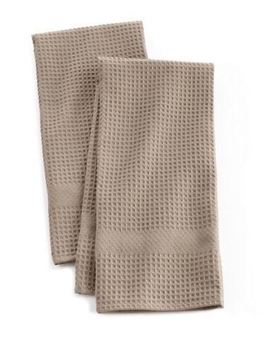 Distinctly Home Solid Waffle Two-piece Kitchen Towels Set-BEIGE-One Size