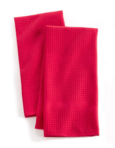 Distinctly Home Solid Waffle Two-piece Kitchen Towels Set-RED-One Size