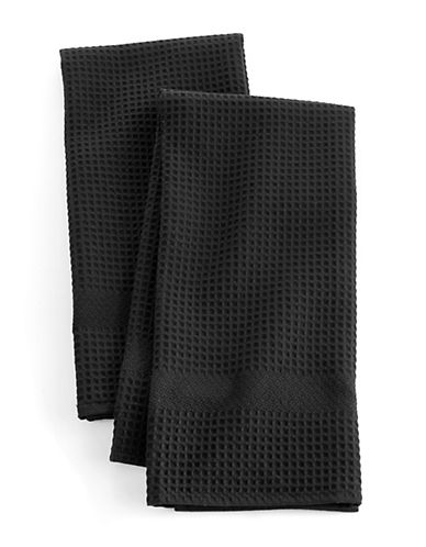 Distinctly Home Solid Waffle Two-piece Kitchen Towels Set-BLACK-One Size
