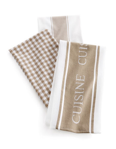 Distinctly Home Classic 3-piece Assorted Tea Towels Set-BEIGE-One Size