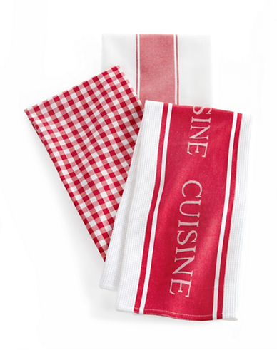 Distinctly Home Classic 3-piece Assorted Tea Towels Set-RED-One Size