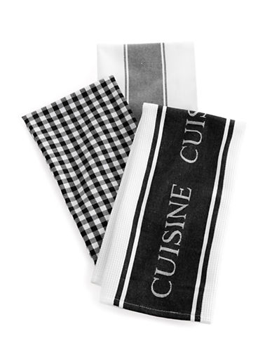 Distinctly Home Classic 3-piece Assorted Tea Towels Set-BLACK-One Size