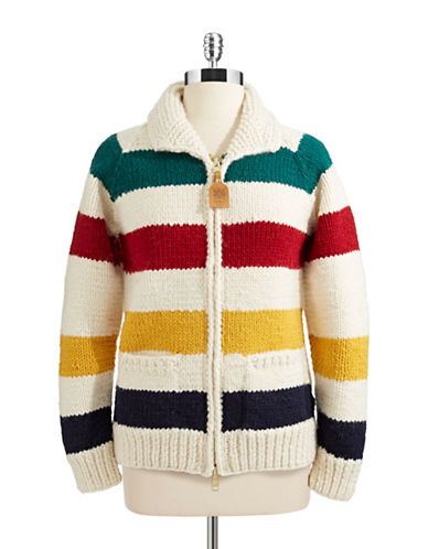 HudsonS Bay Company Womens Canadian Hand Knit Classic Sweater-MULTISTRIPE-Large
