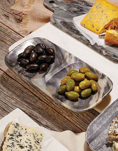 Distinctly Home Zebra Marble Serving 12 inch Duo Dipping Plate-GREY-One Size