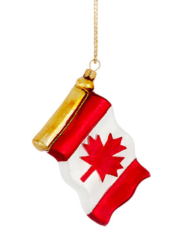 Glitter Accented Canadian Flag Ornament