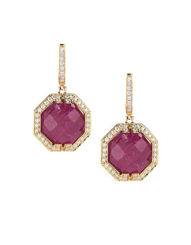 Ivanka Trump Patras Earrings 18kt Yellow Gold-RUBY-One Size