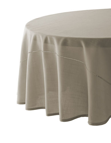 Glucksteinhome Monroe Hemstitched Round Tablecloth-TAUPE-70