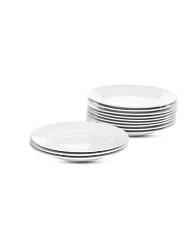 Glucksteinhome Catering Set of 12 Porcelain Dinner Plates-WHITE-One Size