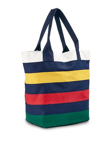 HudsonS Bay Company Everyday Twill Tote-NAVY MULTI STRIPE-One Size