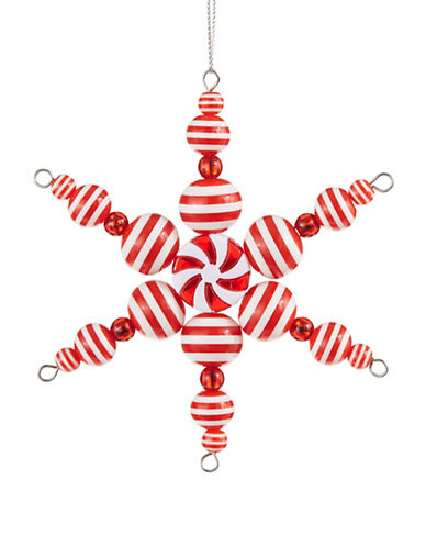 Lord & Taylor WINTER CHARMS 6 Point Candy Stripe Snowflake Ornament - Red