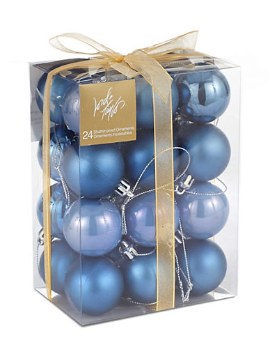 Lord & Taylor 24 Piece Shatter Proof Mini Ball Ornament Set - Blue