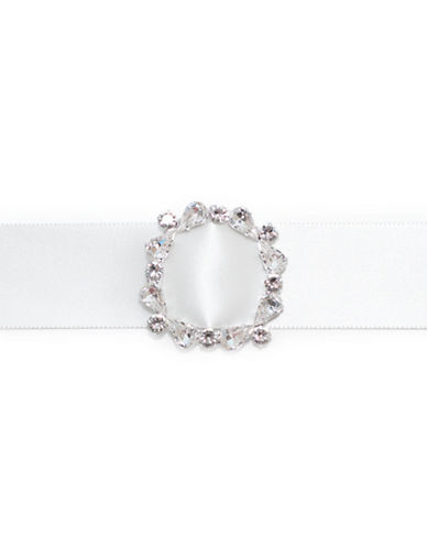 Erin Fitzpatrick Crystal Encrusted Buckle Belt-IVORY-One Size