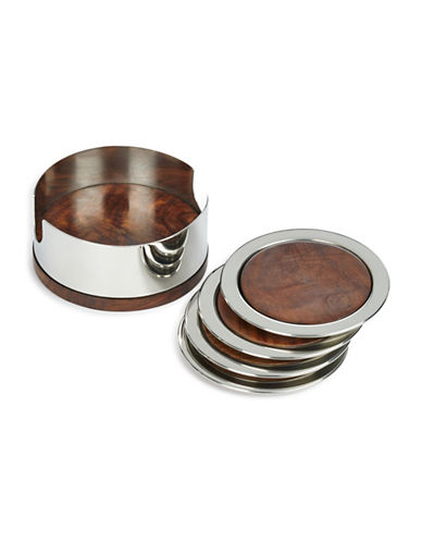 Glucksteinhome 5 Piece Stainless Steel Coaster Set-BROWN-One Size