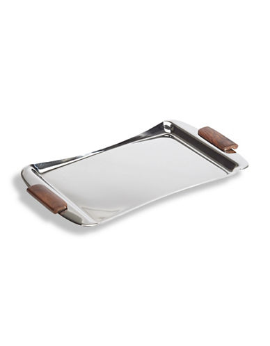 Glucksteinhome Stainless Steel and Sheesham Wood Bar Tray-MIRROR-One Size