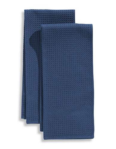 Distinctly Home Classic Kitchen 2 Pack Waffle Knit Towels-FRENCH NAVY-One Size