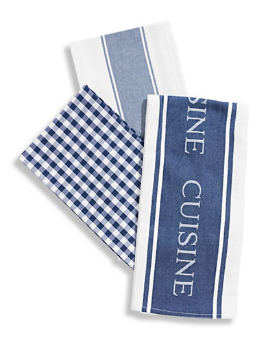 Distinctly Home Classic 3-piece Assorted Tea Towels Set-NAVY BLUE-One Size