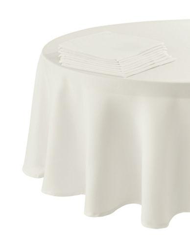 Essential Needs Nine-Piece Round Table Linen Set-WHITE-60x84