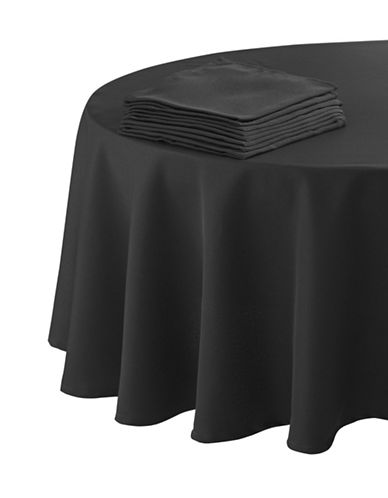 Essential Needs Nine-Piece Round Table Linen Set-BLACK-60x84