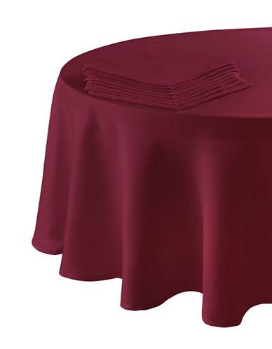 Essential Needs Nine-Piece Round Table Linen Set-RED-60x84