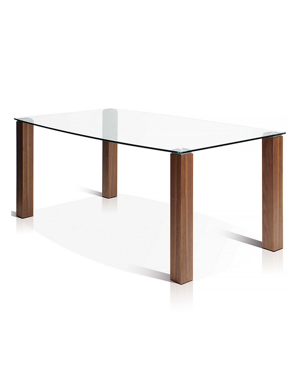 Jenna Boat Shape Glass Top Dining Table With Wooden Legs
