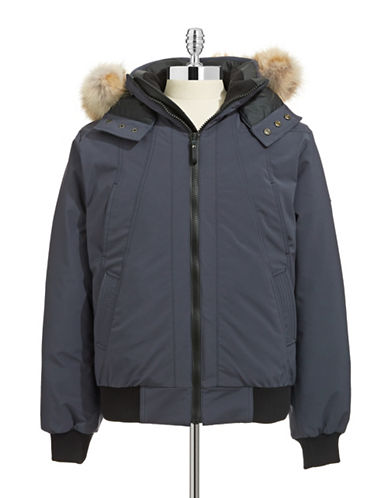 Cmfr Oxton Coyote Fur Trim Bomber Jacket-GREY-Small