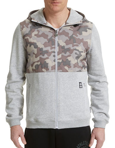Hbc Sport Street Style Camo Hoodie Jacket-GREY MIX-Large