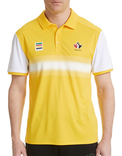 Golf Canada Technical Center Stripe Polo-YELLOW-X-Large