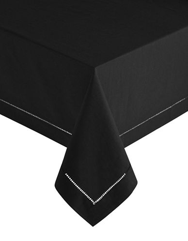 Distinctly Home Hemstitch Linen-Blend Table Cloth-BLACK-One Size