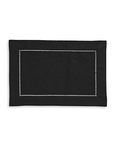 Distinctly Home Hemstitch Linen-Blend Placemat-BLACK-One Size