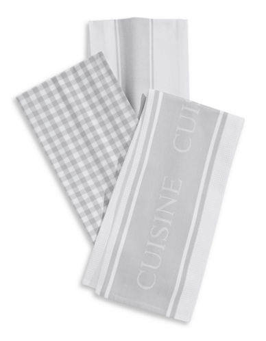 Distinctly Home Classic 3-piece Assorted Tea Towels Set-GREY-One Size