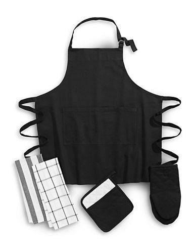 Essential Needs Five-Piece Kitchen Linen Set-BLACK-One Size