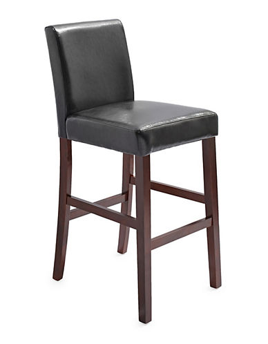 Home Studio Faux Leather Barstool-BLACK-One Size