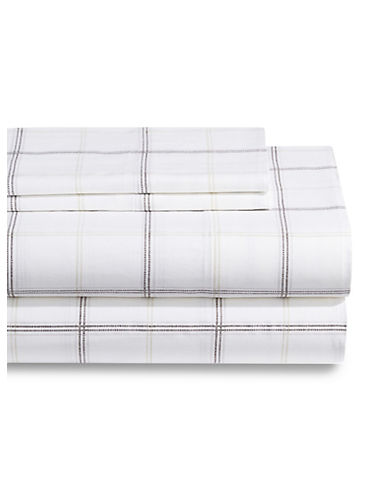 Home Studio Four-Piece Plaid Print Sheet Set-GREY PLAID-King
