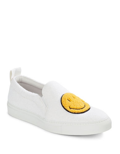 Joshua Sanders Smile Fleece Slides-WHITE-EUR 40/US 10