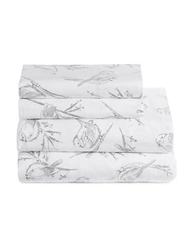 Distinctly Home Four-Piece Winter Sparrow Flannel Sheet Set-WHITE-Double