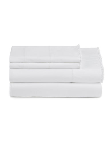 Distinctly Home Romantique Pom-Pom Sheet Set-WHITE-Queen