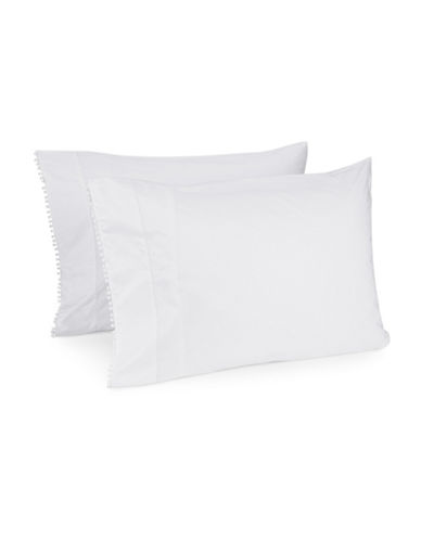 Distinctly Home Two-Piece Romantique Pom-Pom Pillowcase Set-WHITE-Standard