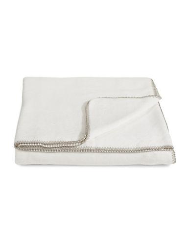 Glucksteinhome Cotton-Blend Rich Blanket-WHITE-Queen