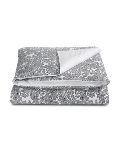 Distinctly Home Paisley 400 Thread-Count Cotton Duvet Cover-WHITE-King