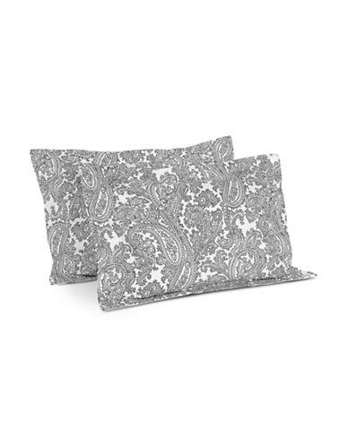 Distinctly Home Paisley Two-Piece 400 Thread-Count Cotton Pillow Sham Set-WHITE-Standard