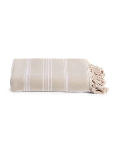 Glucksteinhome Fringed Turkish Cotton Spa Hammam Towel-TAUPE/WHITE-Bath Sheet