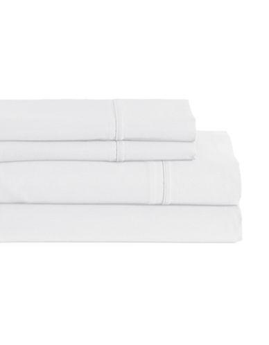 Glucksteinhome Four-Piece Davenport Egyptian Cotton Sheet Set-WHITE-Double