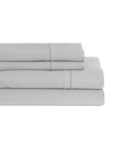 Glucksteinhome Four-Piece Davenport Egyptian Cotton Sheet Set-LIGHT GREY-Queen